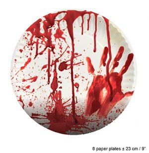 kertakäyttölautaset verinen